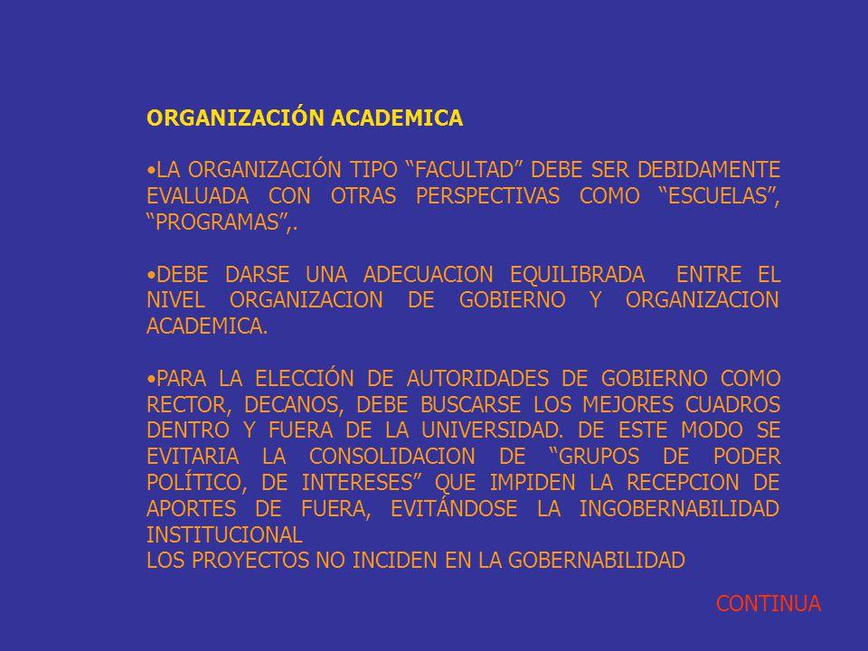 ORGANIZACIÓN ACADEMICA LA ORGANIZACIÓN TIPO FACULTAD DEBE SER DEBIDAMENTE EVALUADA CON OTRAS PERSPECTIVAS COMO ESCUELAS, PROGRAMAS,. DEBE DARSE UNA AD