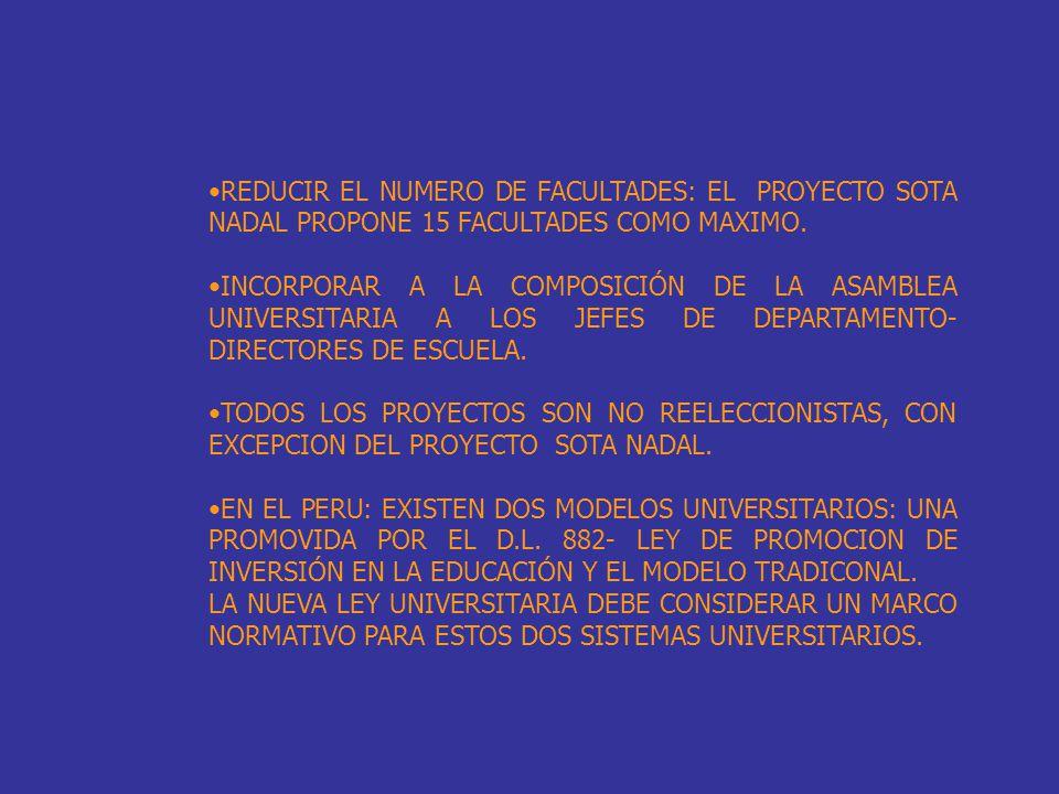 REDUCIR EL NUMERO DE FACULTADES: EL PROYECTO SOTA NADAL PROPONE 15 FACULTADES COMO MAXIMO. INCORPORAR A LA COMPOSICIÓN DE LA ASAMBLEA UNIVERSITARIA A