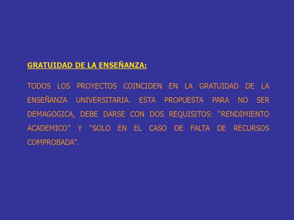 GRATUIDAD DE LA ENSEÑANZA: TODOS LOS PROYECTOS COINCIDEN EN LA GRATUIDAD DE LA ENSEÑANZA UNIVERSITARIA. ESTA PROPUESTA PARA NO SER DEMAGOGICA, DEBE DA