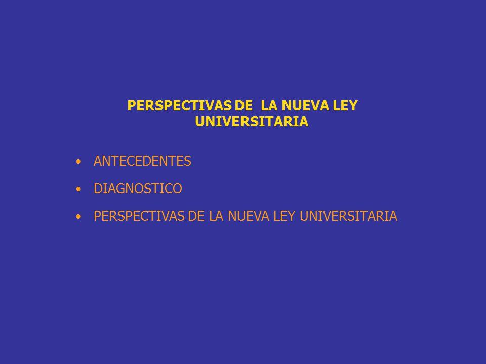 PERSPECTIVAS DE LA NUEVA LEY UNIVERSITARIA ANTECEDENTES DIAGNOSTICO PERSPECTIVAS DE LA NUEVA LEY UNIVERSITARIA