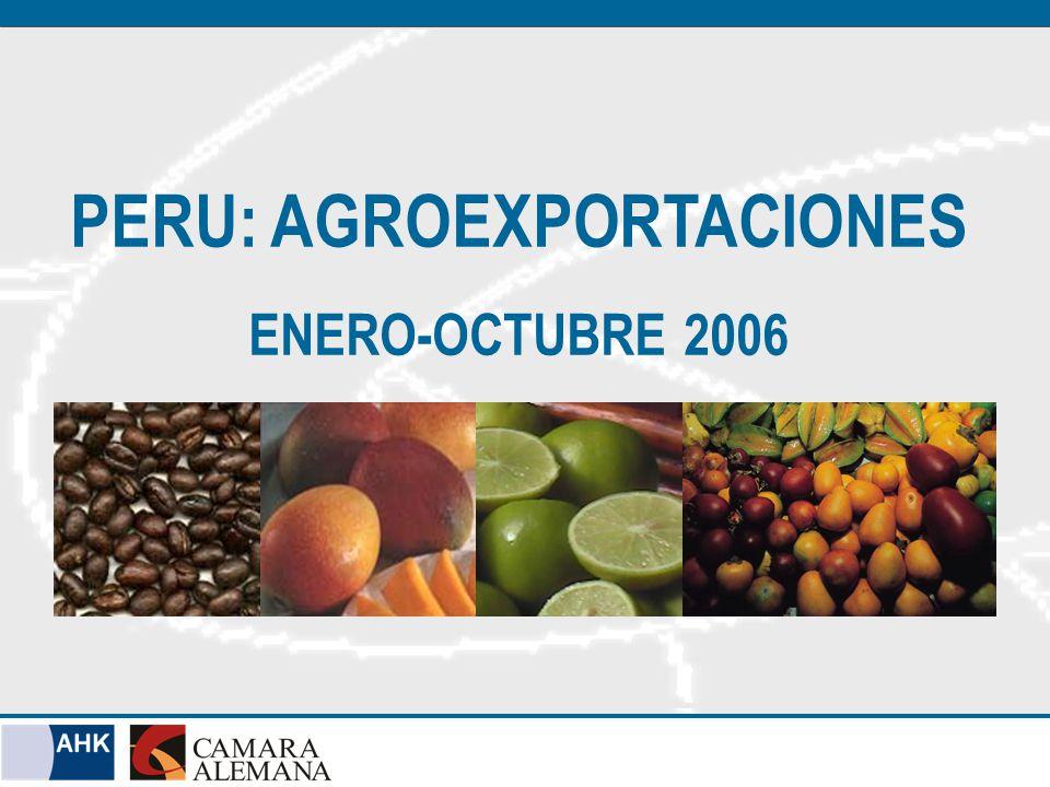 Perú: Total Exportaciones 2006 (ENE-OCT 2006) Fuente: Aduanas / Elaboración Cámara Alemana
