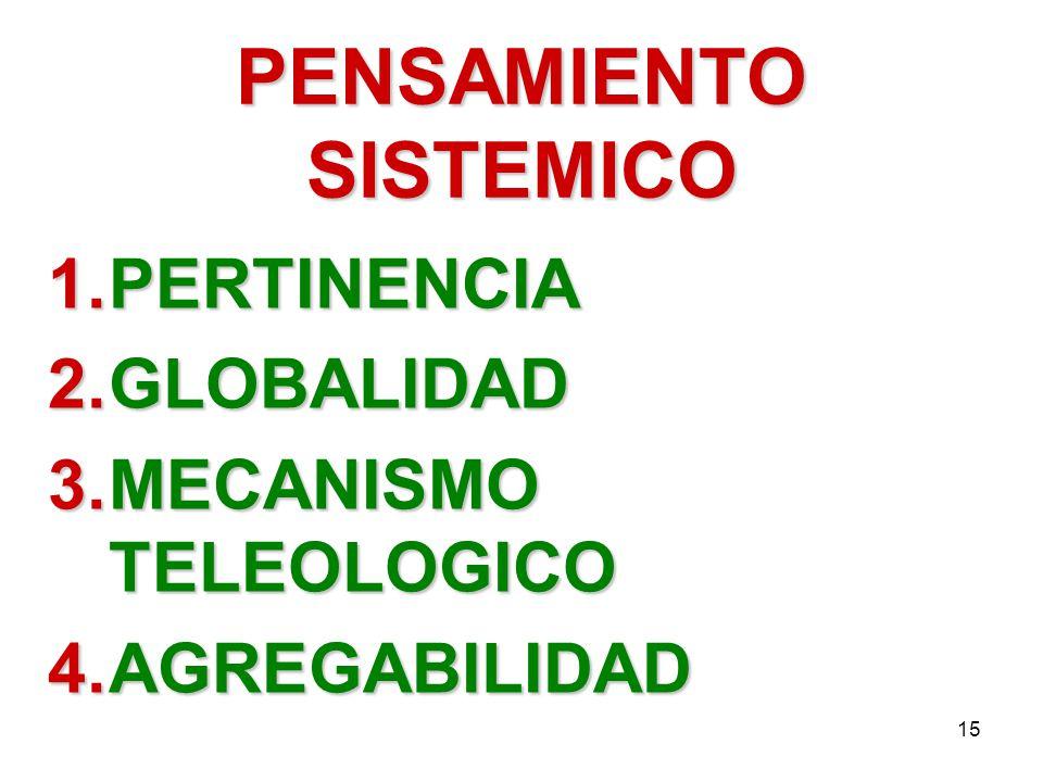 15 PENSAMIENTO SISTEMICO 1.PERTINENCIA 2.GLOBALIDAD 3.MECANISMO TELEOLOGICO 4.AGREGABILIDAD