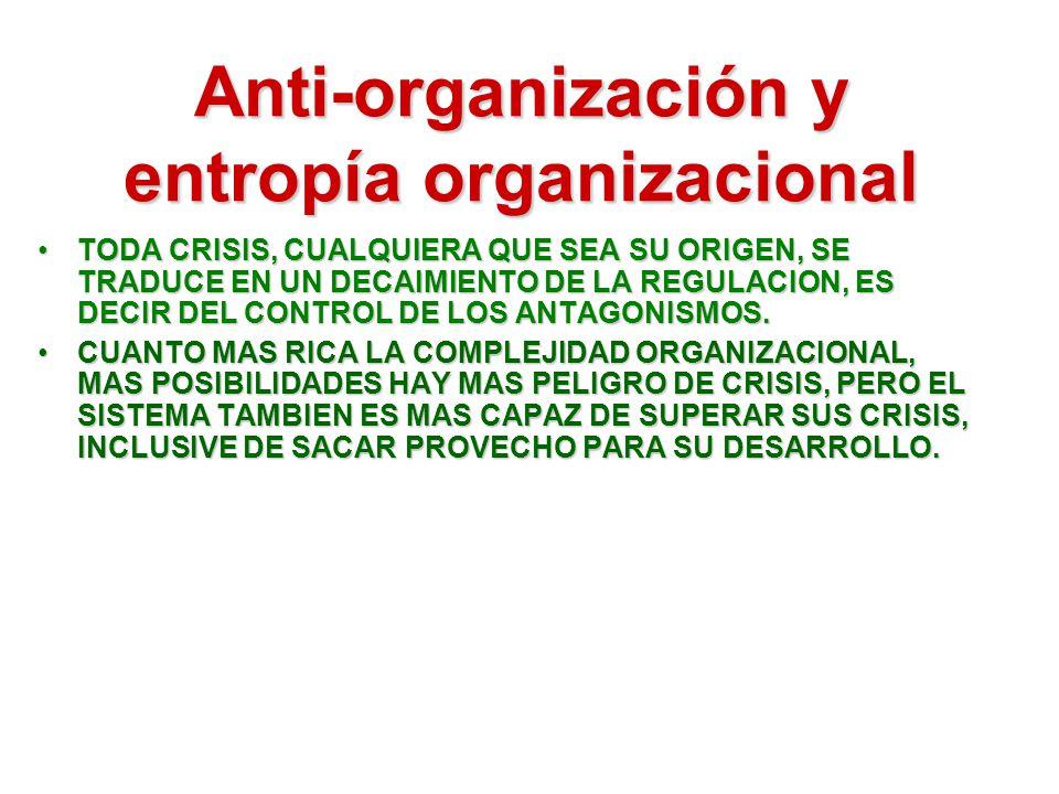 Anti-organización y entropía organizacional TODA CRISIS, CUALQUIERA QUE SEA SU ORIGEN, SE TRADUCE EN UN DECAIMIENTO DE LA REGULACION, ES DECIR DEL CON