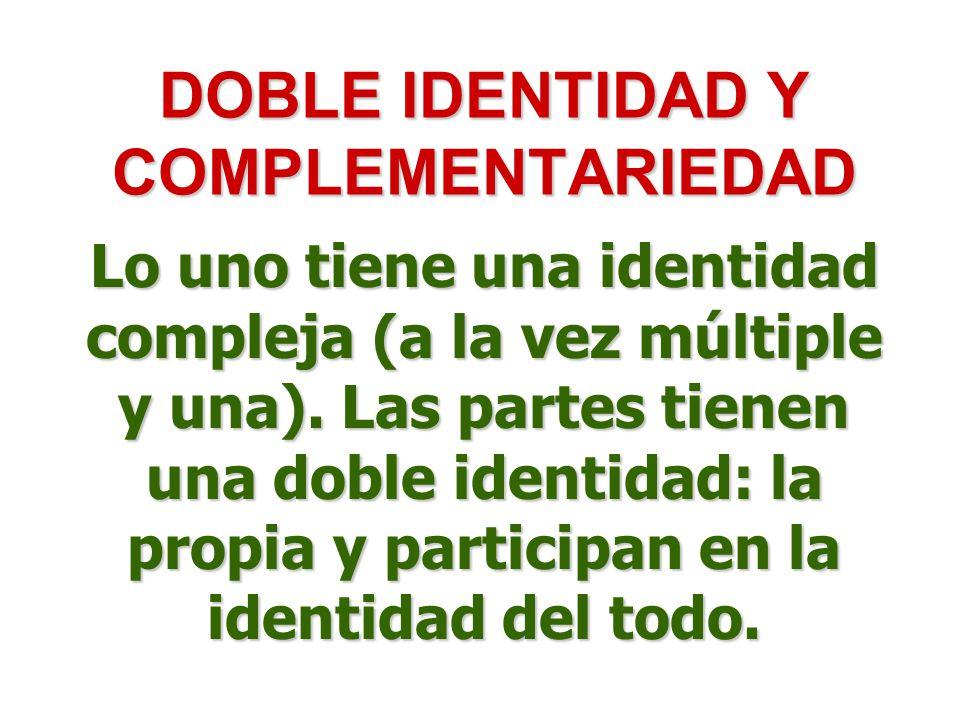 DOBLE IDENTIDAD Y COMPLEMENTARIEDAD Lo uno tiene una identidad compleja (a la vez múltiple y una). Las partes tienen una doble identidad: la propia y