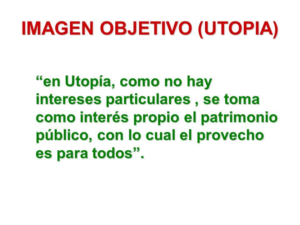 IMAGEN OBJETIVO (UTOPIA) en Utopía, como no hay intereses particulares, se toma como interés propio el patrimonio público, con lo cual el provecho es