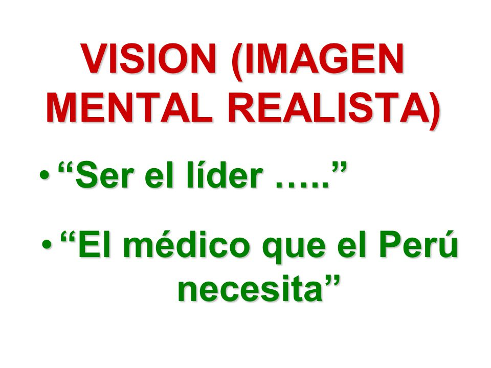 VISION (IMAGEN MENTAL REALISTA) El médico que el Perú necesitaEl médico que el Perú necesita Ser el líder …..Ser el líder …..