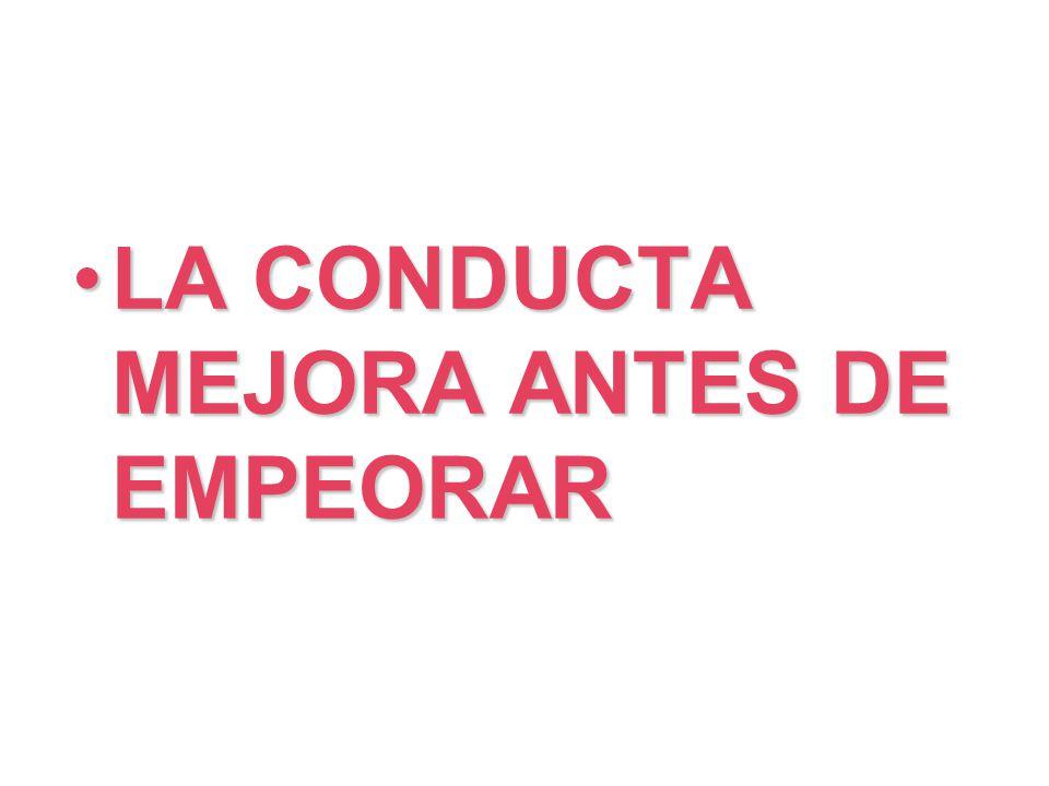 LA CONDUCTA MEJORA ANTES DE EMPEORARLA CONDUCTA MEJORA ANTES DE EMPEORAR