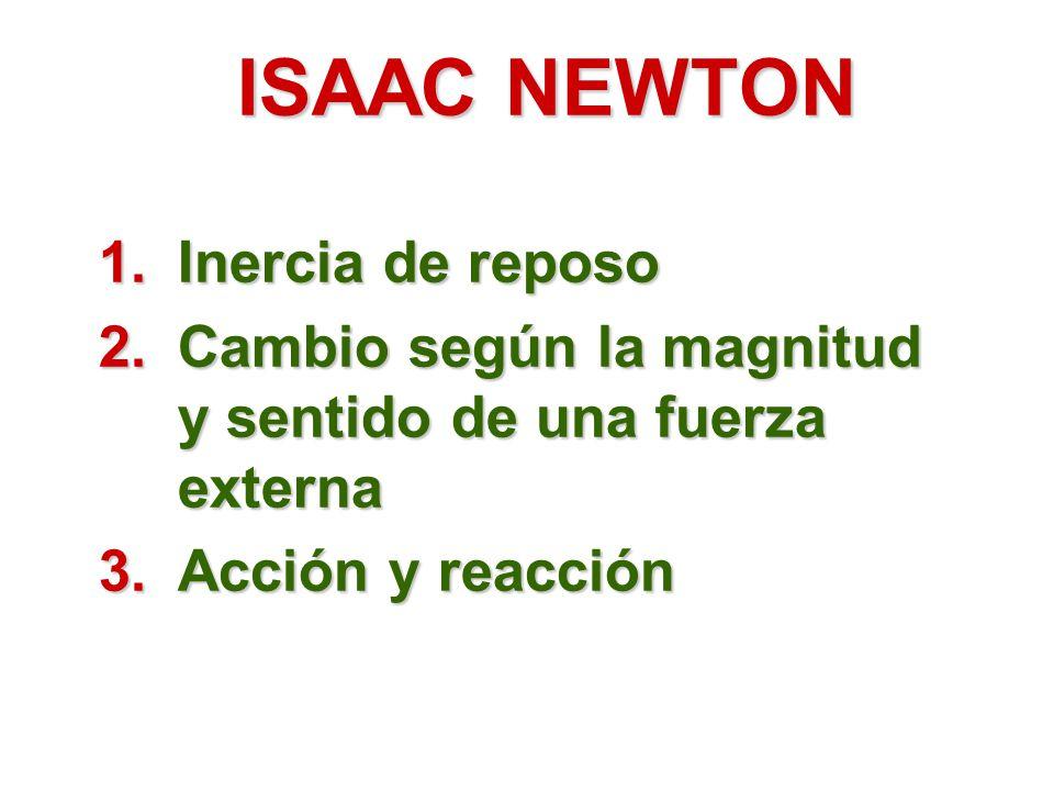 ISAAC NEWTON 1.Inercia de reposo 2.Cambio según la magnitud y sentido de una fuerza externa 3.Acción y reacción