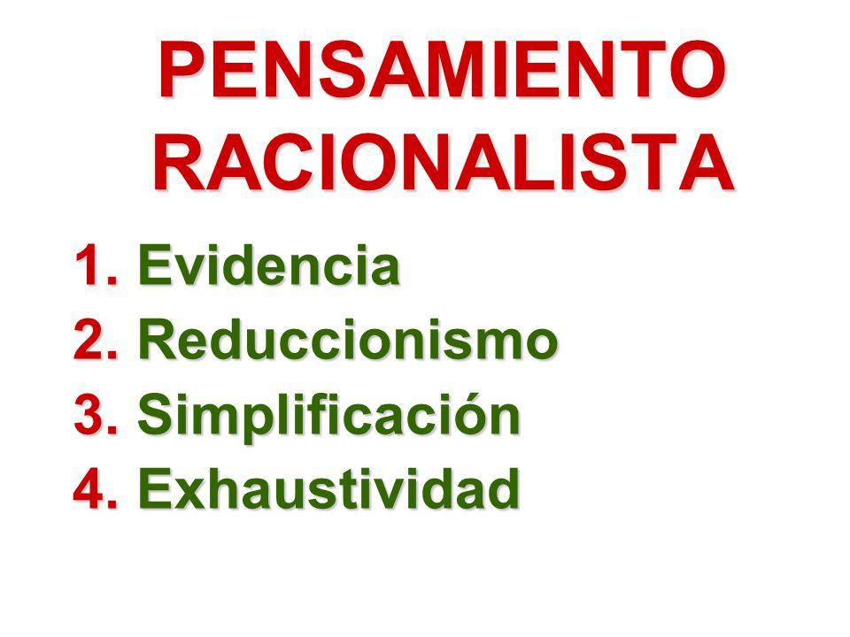 PENSAMIENTO RACIONALISTA 1.Evidencia 2.Reduccionismo 3.Simplificación 4.Exhaustividad