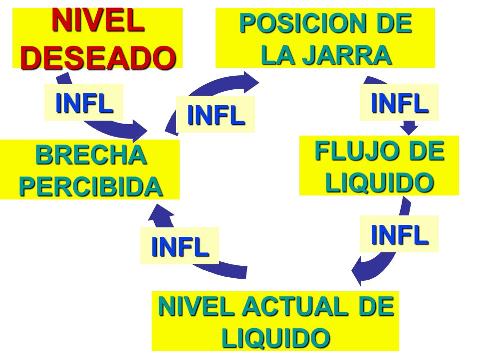 NIVEL DESEADO POSICION DE LA JARRA FLUJO DE LIQUIDO BRECHA PERCIBIDA NIVEL ACTUAL DE LIQUIDO INFL INFL INFL INFL INFL