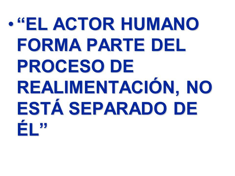 EL ACTOR HUMANO FORMA PARTE DEL PROCESO DE REALIMENTACIÓN, NO ESTÁ SEPARADO DE ÉLEL ACTOR HUMANO FORMA PARTE DEL PROCESO DE REALIMENTACIÓN, NO ESTÁ SE
