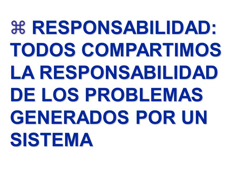 z RESPONSABILIDAD: TODOS COMPARTIMOS LA RESPONSABILIDAD DE LOS PROBLEMAS GENERADOS POR UN SISTEMA