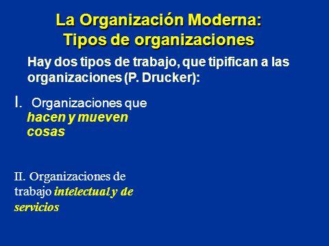 I. Organizaciones que hacen y mueven cosas La Organización Moderna: Tipos de organizaciones II. Organizaciones de trabajo intelectual y de servicios H