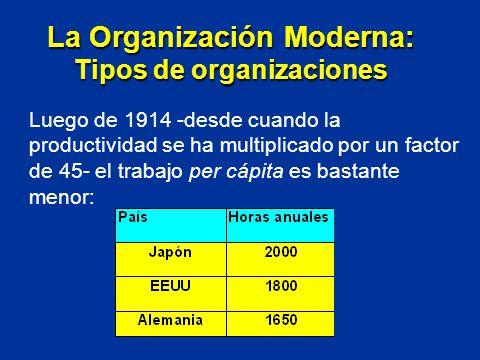 Luego de 1914 -desde cuando la productividad se ha multiplicado por un factor de 45- el trabajo per cápita es bastante menor: La Organización Moderna: