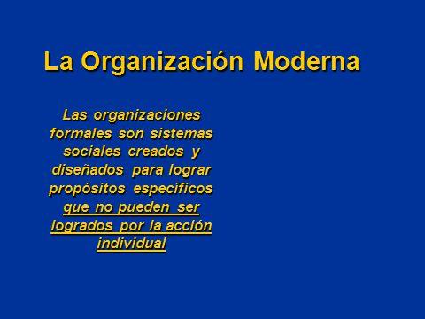 Concepto básico de organización: Dos o más personas con objetivos comunes y el desarrollo de un trabajo estructurado para alcanzarlos La Organización Moderna