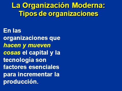 En las organizaciones que hacen y mueven cosas el capital y la tecnología son factores esenciales para incrementar la producción. La Organización Mode