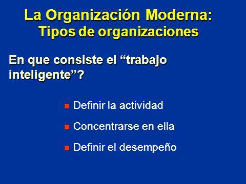 Definir la actividad Concentrarse en ella Definir el desempeño En que consiste el trabajo inteligente? La Organización Moderna: Tipos de organizacione