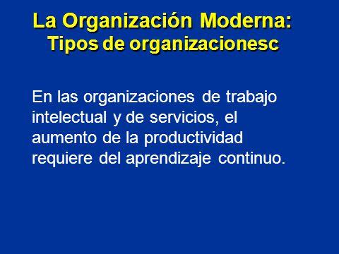 En las organizaciones de trabajo intelectual y de servicios, el aumento de la productividad requiere del aprendizaje continuo. La Organización Moderna