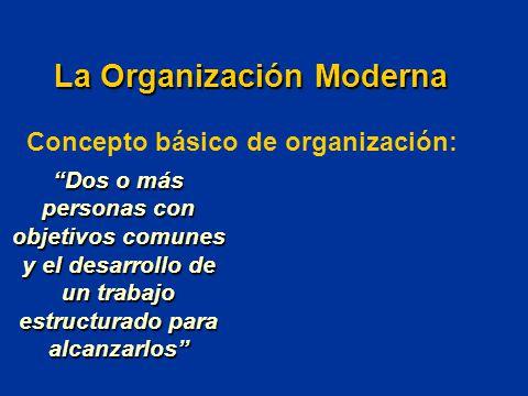 Concepto básico de organización: Dos o más personas con objetivos comunes y el desarrollo de un trabajo estructurado para alcanzarlos La Organización