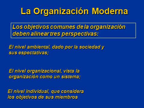 El nivel individual, que considera los objetivos de sus miembros La Organización Moderna Los objetivos comunes de la organización deben alinear tres p