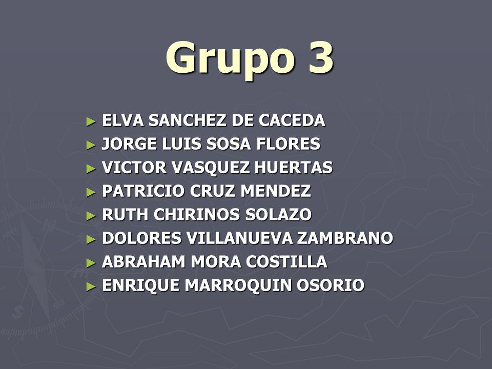 Grupo 3 ELVA SANCHEZ DE CACEDA ELVA SANCHEZ DE CACEDA JORGE LUIS SOSA FLORES JORGE LUIS SOSA FLORES VICTOR VASQUEZ HUERTAS VICTOR VASQUEZ HUERTAS PATR