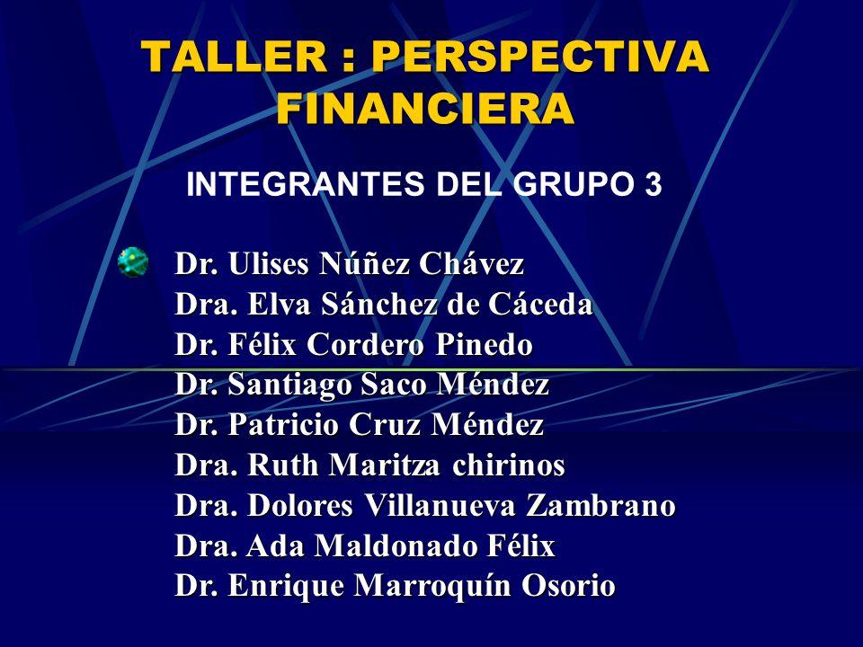 TALLER : PERSPECTIVA FINANCIERA INTEGRANTES DEL GRUPO 3 Dr.