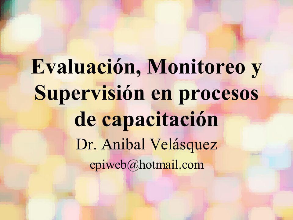 Evaluación, Monitoreo y Supervisión en procesos de capacitación Dr. Anibal Velásquez epiweb@hotmail.com