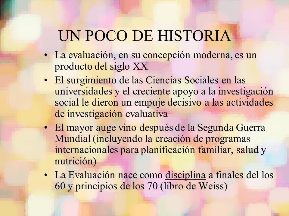 UN POCO DE HISTORIA La evaluación, en su concepción moderna, es un producto del siglo XX El surgimiento de las Ciencias Sociales en las universidades