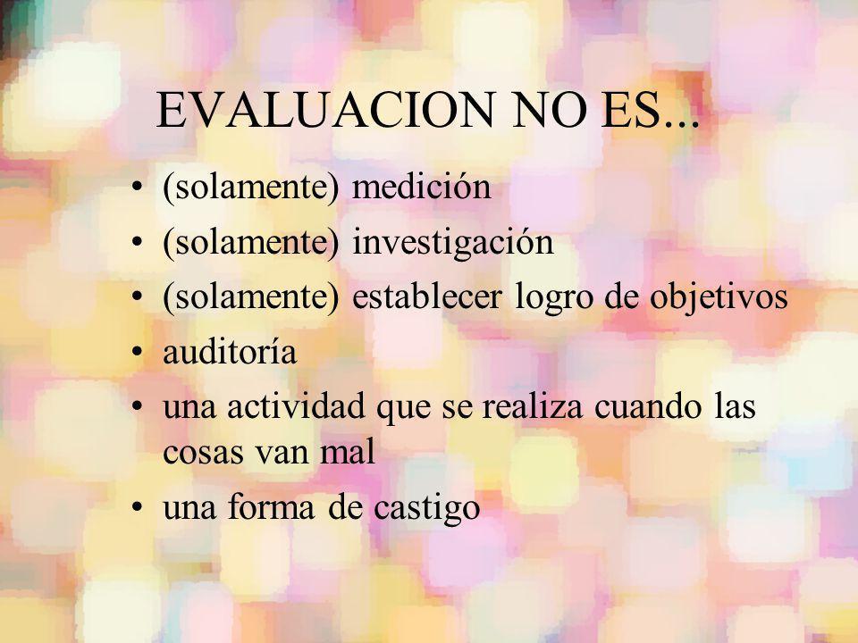EVALUACION NO ES... (solamente) medición (solamente) investigación (solamente) establecer logro de objetivos auditoría una actividad que se realiza cu