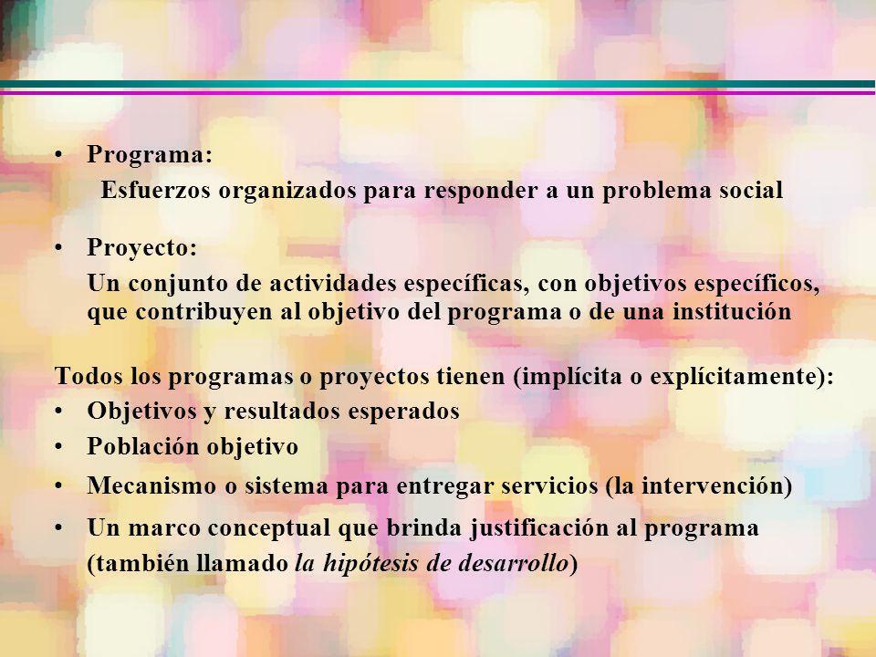 Programa: Esfuerzos organizados para responder a un problema social Proyecto: Un conjunto de actividades específicas, con objetivos específicos, que c