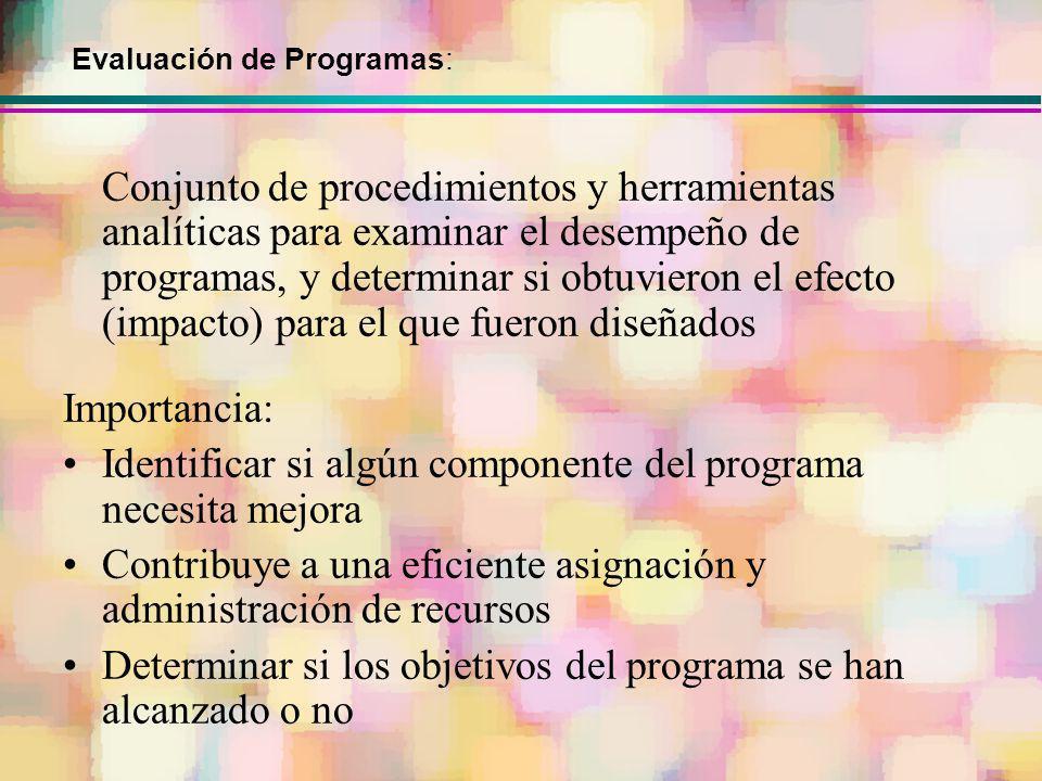 Conjunto de procedimientos y herramientas analíticas para examinar el desempeño de programas, y determinar si obtuvieron el efecto (impacto) para el q