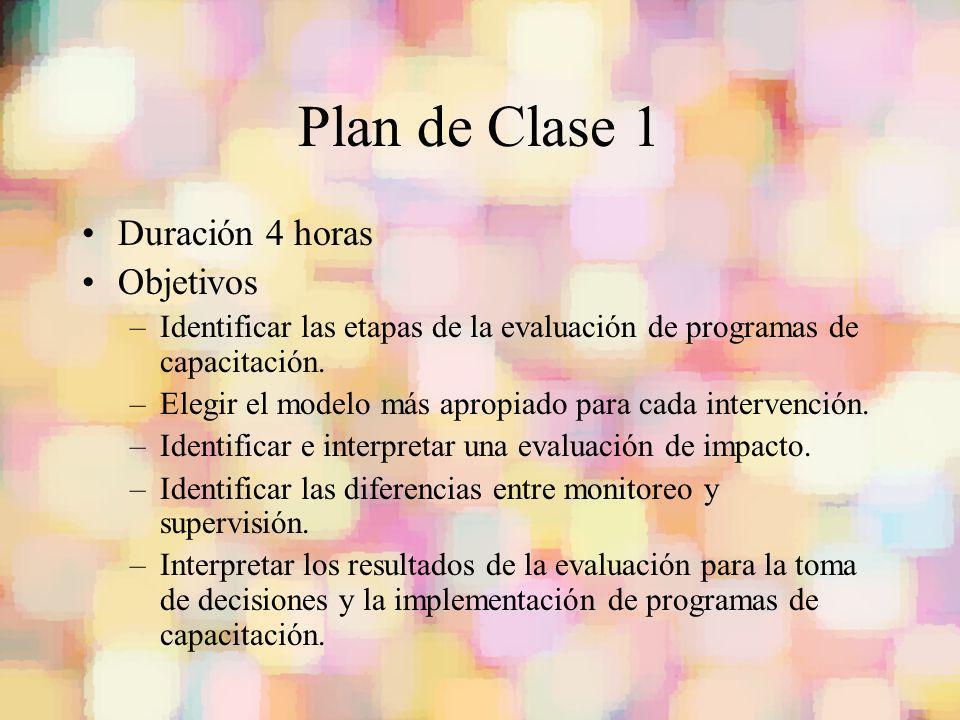 Plan de Clase 1 Duración 4 horas Objetivos –Identificar las etapas de la evaluación de programas de capacitación. –Elegir el modelo más apropiado para