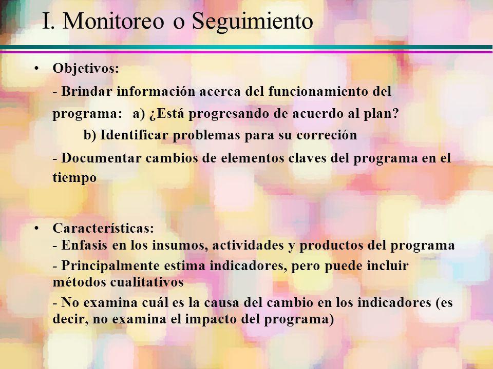 I. Monitoreo o Seguimiento Objetivos: - Brindar información acerca del funcionamiento del programa:a) ¿Está progresando de acuerdo al plan? b) Identif
