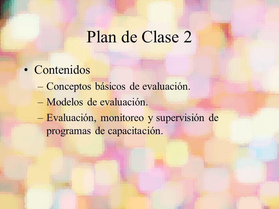 Plan de Clase 2 Contenidos –Conceptos básicos de evaluación. –Modelos de evaluación. –Evaluación, monitoreo y supervisión de programas de capacitación