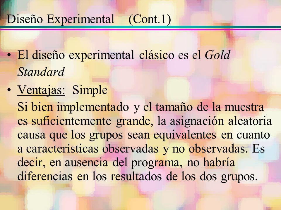 Diseño Experimental (Cont.1) El diseño experimental clásico es el Gold Standard Ventajas: Simple Si bien implementado y el tamaño de la muestra es suf