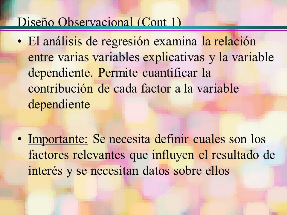 Diseño Observacional (Cont 1) El análisis de regresión examina la relación entre varias variables explicativas y la variable dependiente. Permite cuan