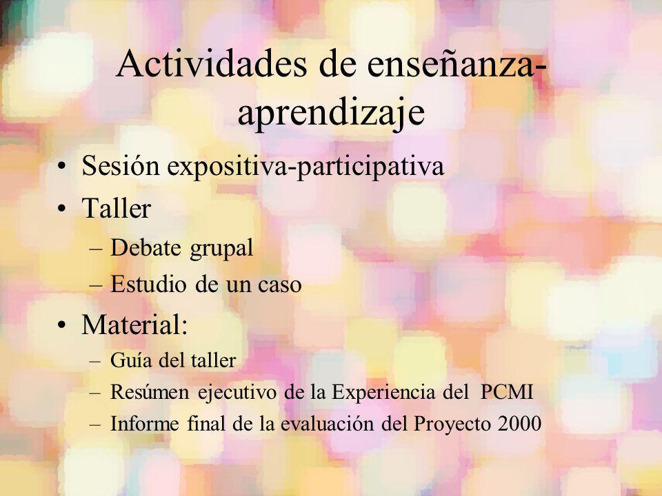 Actividades de enseñanza- aprendizaje Sesión expositiva-participativa Taller –Debate grupal –Estudio de un caso Material: –Guía del taller –Resúmen ej