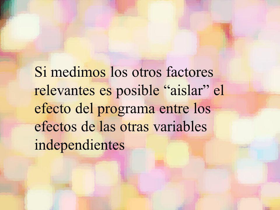 Si medimos los otros factores relevantes es posible aislar el efecto del programa entre los efectos de las otras variables independientes