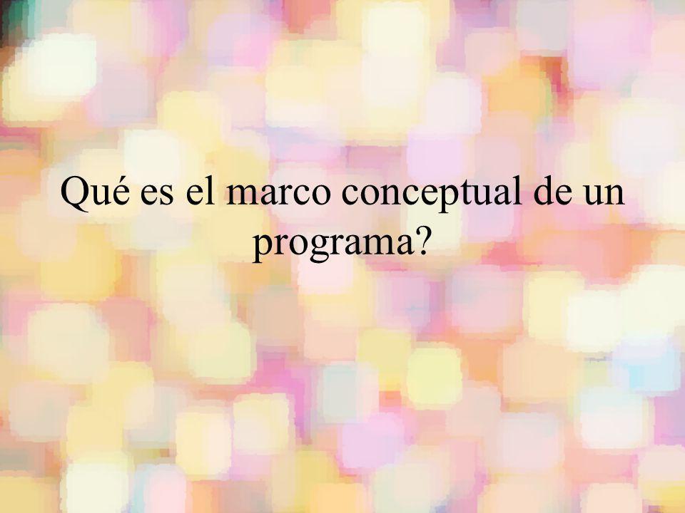 Qué es el marco conceptual de un programa?