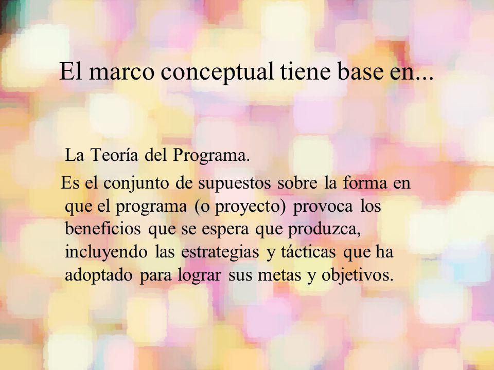 El marco conceptual tiene base en... La Teoría del Programa. Es el conjunto de supuestos sobre la forma en que el programa (o proyecto) provoca los be
