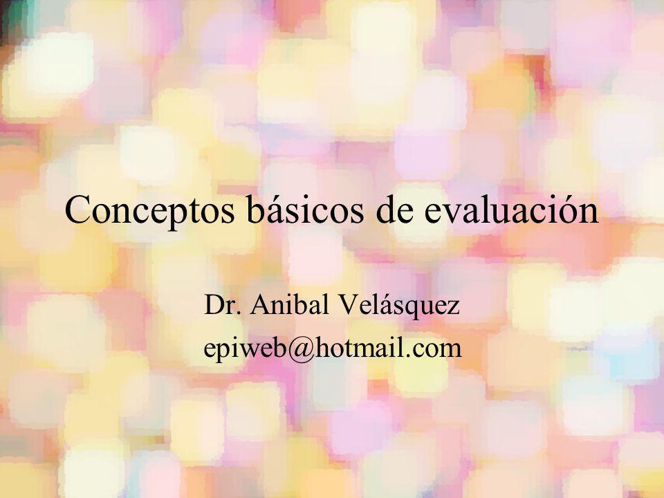 Conceptos básicos de evaluación Dr. Anibal Velásquez epiweb@hotmail.com