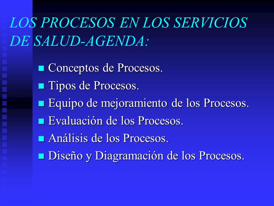 LOS PROCESOS EN LOS SERVICIOS DE SALUD-AGENDA: Conceptos de Procesos. Conceptos de Procesos. Tipos de Procesos. Tipos de Procesos. Equipo de mejoramie
