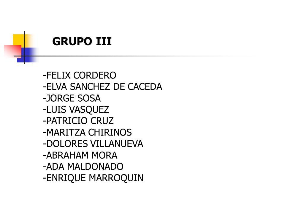 GRUPO III -FELIX CORDERO -ELVA SANCHEZ DE CACEDA -JORGE SOSA -LUIS VASQUEZ -PATRICIO CRUZ -MARITZA CHIRINOS -DOLORES VILLANUEVA -ABRAHAM MORA -ADA MALDONADO -ENRIQUE MARROQUIN
