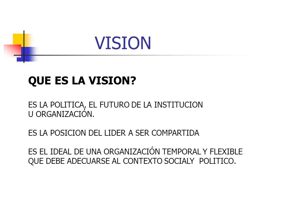 VISION QUE ES LA VISION.ES LA POLITICA, EL FUTURO DE LA INSTITUCION U ORGANIZACIÓN.