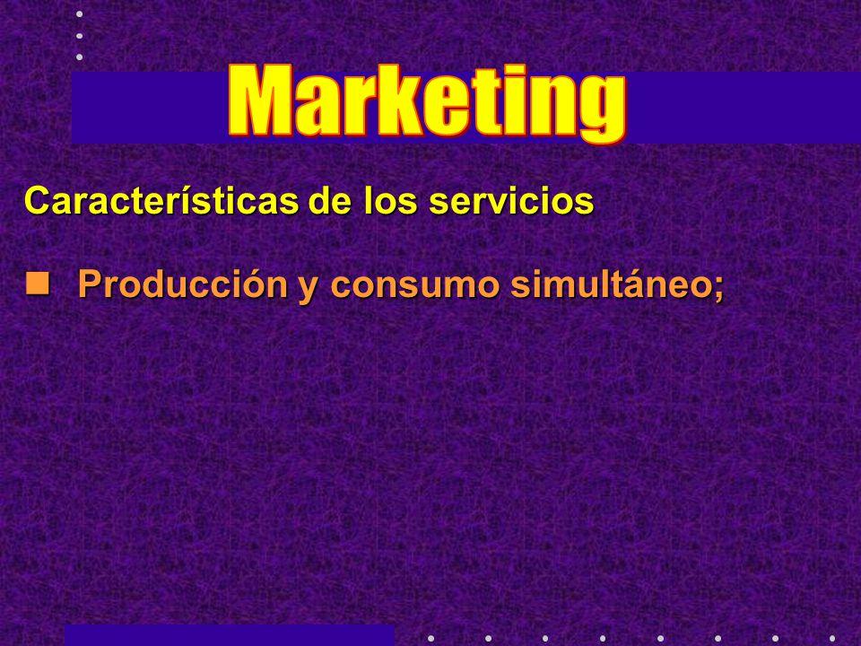 Características de los servicios Producción y consumo simultáneo; Producción y consumo simultáneo;