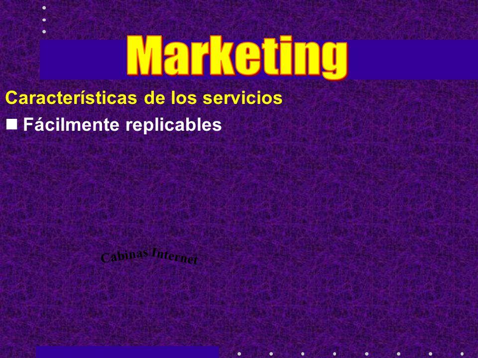 Características de los servicios Fácilmente replicables Cabinas Internet