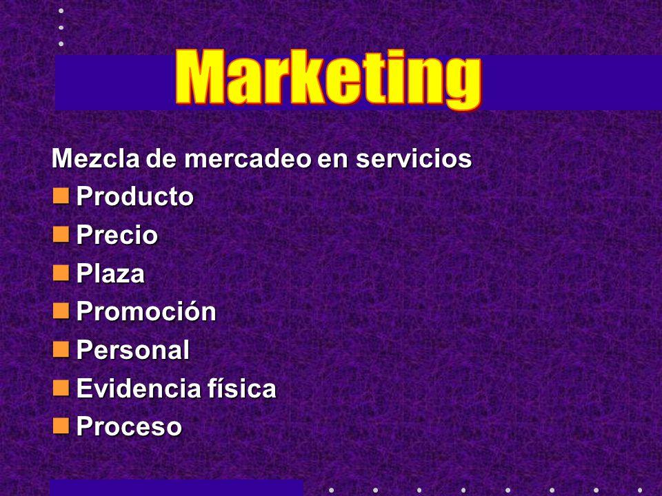 Mezcla de mercadeo en servicios Producto Producto Precio Precio Plaza Plaza Promoción Promoción Personal Personal Evidencia física Evidencia física Proceso Proceso