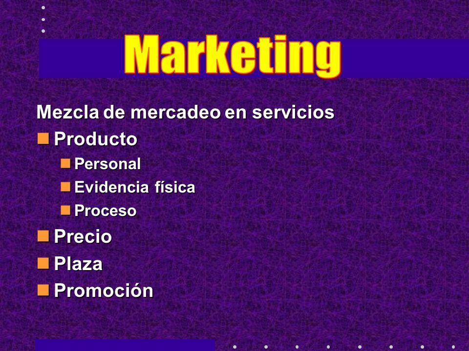 Mezcla de mercadeo en servicios Producto Producto Personal Personal Evidencia física Evidencia física Proceso Proceso Precio Precio Plaza Plaza Promoc