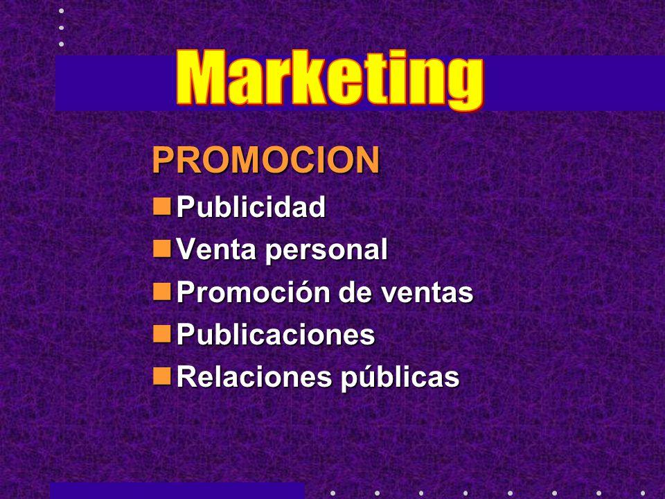 PROMOCION Publicidad Publicidad Venta personal Venta personal Promoción de ventas Promoción de ventas Publicaciones Publicaciones Relaciones públicas