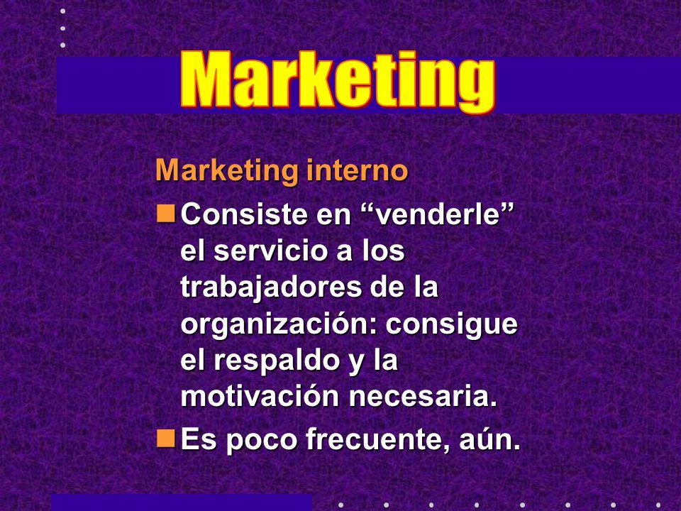 Marketing interno Consiste en venderle el servicio a los trabajadores de la organización: consigue el respaldo y la motivación necesaria. Consiste en